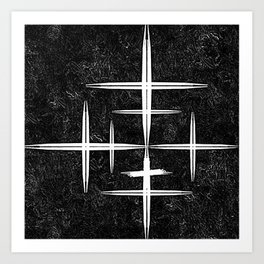 Black and White Hop Scotch Cris Cross Art Print