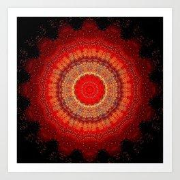 Vibrant Red Gold and black Mandala Art Print