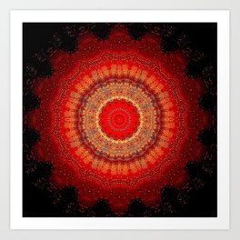 Vibrant Red Gold and black Mandala Art Print