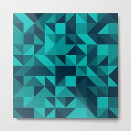 The bottom of the ocean - Random triangle pattern in shades of blue and turquoise  Metal Print