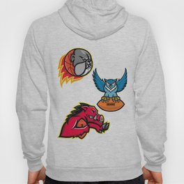 American Football and Basketball Wildlife Sports Mascot Collection Hoody