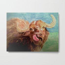 Nosey Cow Metal Print