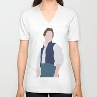 les miserables V-neck T-shirts featuring Marius - Eddie Redmayne - Les Miserables - Minimalist design by Hrern1313