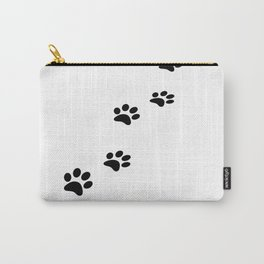 Black cat paw prints on white Carry-All Pouch