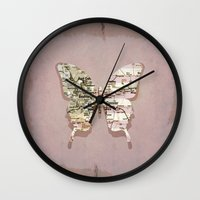 denver Wall Clocks featuring denver butterfly by Steffi Louis