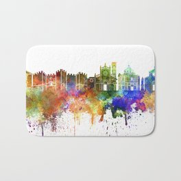 Prato skyline in watercolor background Bath Mat