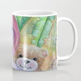 Whimsical Girl with Bear Coffee Mug
