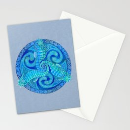 Seahorse Triskele Celtic Blue Spirals Mandala Stationery Cards