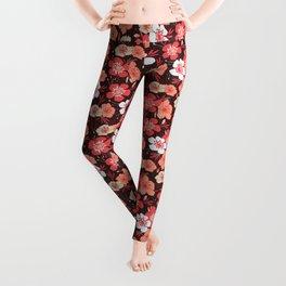 Coral flower pattern Leggings