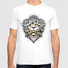 Gold Eyed Tiger White Mens Fitted Tee SMALL