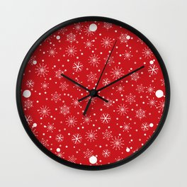 Red & White Snowflakes Pattern Wall Clock