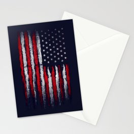 Red & white American flag on Navy ink Stationery Cards