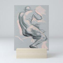 Nude Male Model Sketch, Life Drawing, Artistic Nudity Mini Art Print