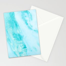 Shimmery Teal Ocean Blue Turquoise Marble Metallic Stationery Cards