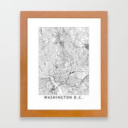 Washington D.C. White Map Framed Art Print