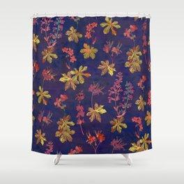 Blue Geraniums Shower Curtain