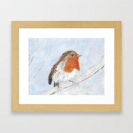 Robin in the Snow Framed Art Print
