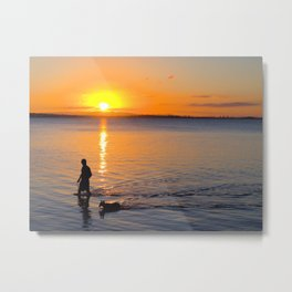 Wading in the Sunset Metal Print
