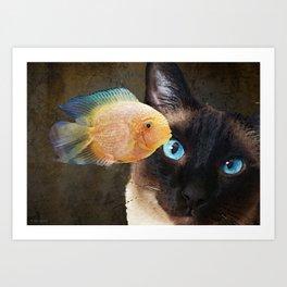 Wishful Thinking 2 - Siamese Cat Art - Sharon Cummings Art Print