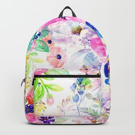 Pretty watercolor floral hand paint design Backpack