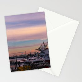 Sunset in the port of Hamburg Stationery Cards