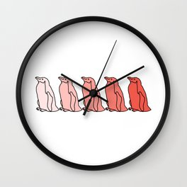 Waddle of Penguins in Rose Tones Wall Clock