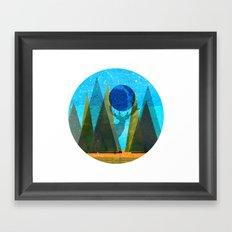 Wonder Wood Dream Mountains - Blue Deer Framed Art Print