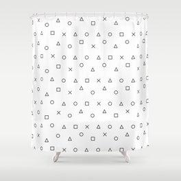 gaming pattern - gamer design - playstation controller symbols Shower Curtain