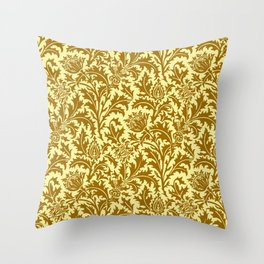 William Morris Thistle Damask in Mustard Gold Throw Pillow