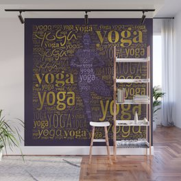 Yoga Pattern around Asana in Gold and Purple Wall Mural