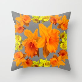 YELLOW-GOLD SPRING DAFFODILS & CHARCOAL GREY COLOR Throw Pillow