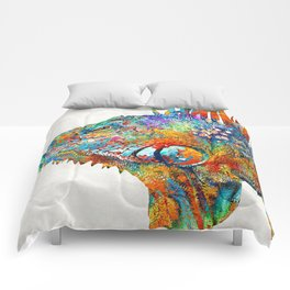 Colorful Iguana Art - One Cool Dude - Sharon Cummings Comforters