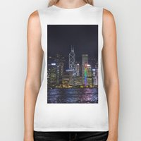 hong kong Biker Tanks featuring Hong Kong Night Skyline by Deborah Janke