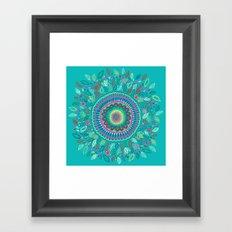 leafy Turquoise Mandala Framed Art Print