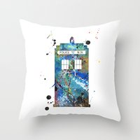 tardis Throw Pillows featuring Tardis by Beth Naeyaert