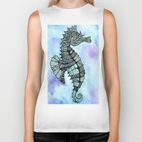 tatoo Biker Tanks featuring Tatoo Seahorse by PepperDsArt