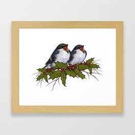 Christmas Illustration: Singing Birds With Holly Leaves, Twigs Framed Art Print