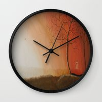 pixies Wall Clocks featuring Walking Among the Pixies by Mary Frankenfield