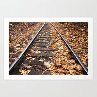Leaves on Train Track Art Print