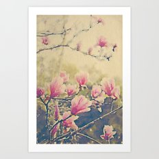 Magnolia Tulip Tree in Spring -- Painterly in Vintage Tones Art Print