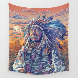 native american portrait-red cloud Wall Tapestry