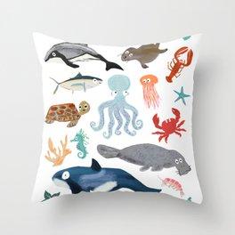 Sea Change: Ocean Animals Throw Pillow