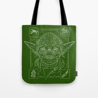 yoda Tote Bags featuring Yoda by Jon Deviny