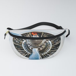 Legendary Vintage Aircraft Engine And Propeller On White Fanny Pack