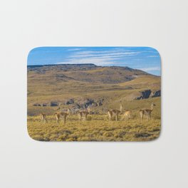 Group of Vicunas at Patagonia Landscape, Argentina Bath Mat