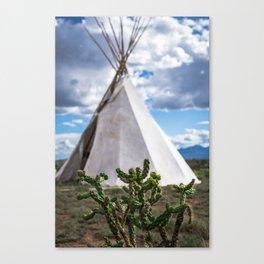 Cactus with Teepee Canvas Print