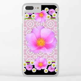 Floral Abundance Black Shasta Daisy Pink Roses Abstract Art For the home or the office and gifts fro Clear iPhone Case