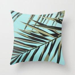Palm leaf, Tropical, Blue, Green, Nature, Modern art, Art, Minimal, Wall art Throw Pillow