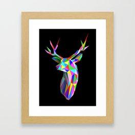 3D Stag Black Background Framed Art Print