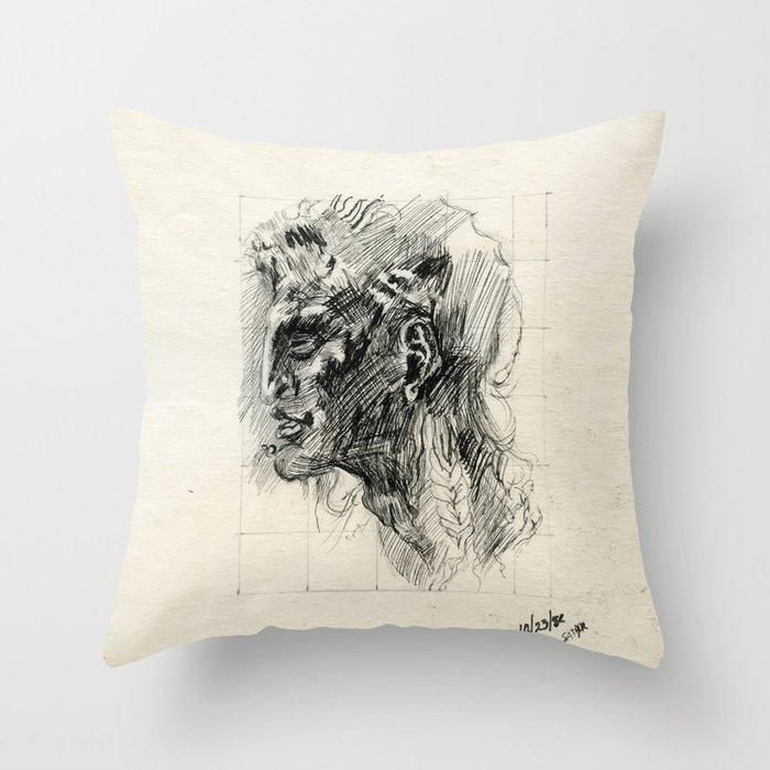 Head of satyr Throw Pillow